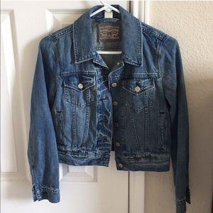 Levi's cropped jean jacket print back crop S